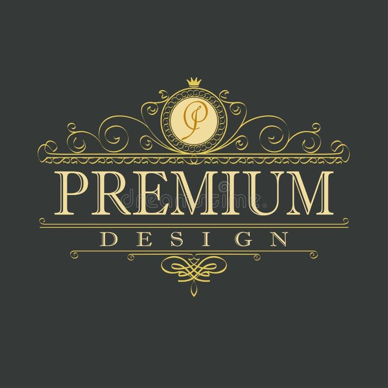 Logo de luxe de conception florale d'ornement illustration de vecteur