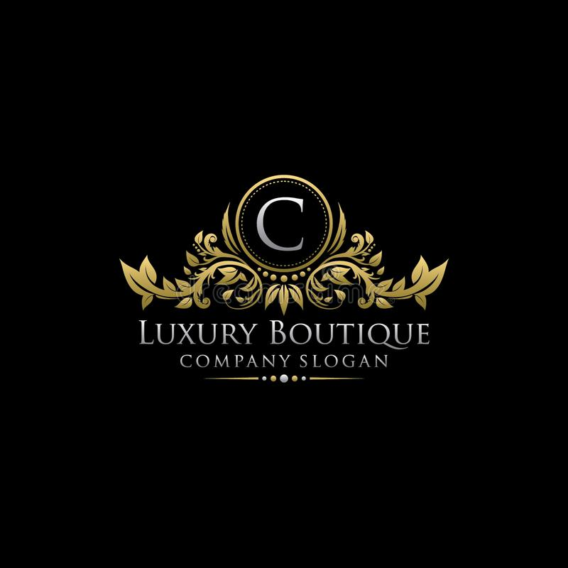 Logo de luxe royal de lettre de la boutique C d'or illustration libre de droits