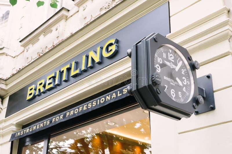 Logo de magasin emblématique de Breitling photo libre de droits