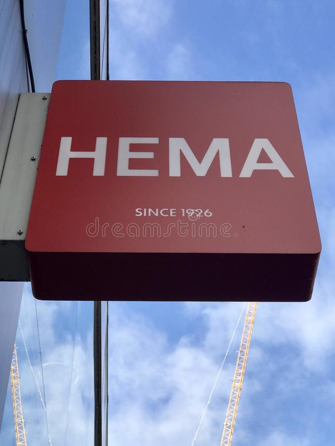 Logo de magasin de HEMA photographie stock