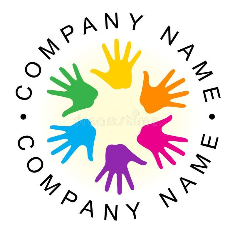 Logo de main d'unité d'arc-en-ciel illustration stock