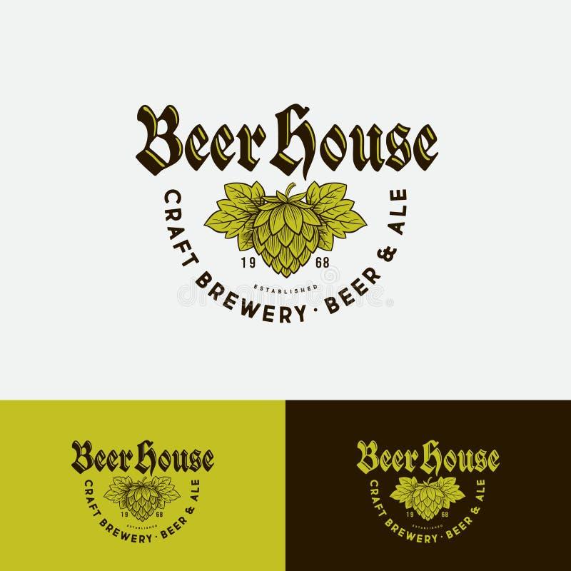 Logo de maison de bi?re Logo de compagnie de brassage Emblème de bar de bière sur différents milieux illustration libre de droits