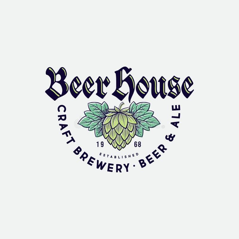Logo de maison de bi?re Logo de compagnie de brassage Emblème de bar de bière sur le fond clair illustration de vecteur