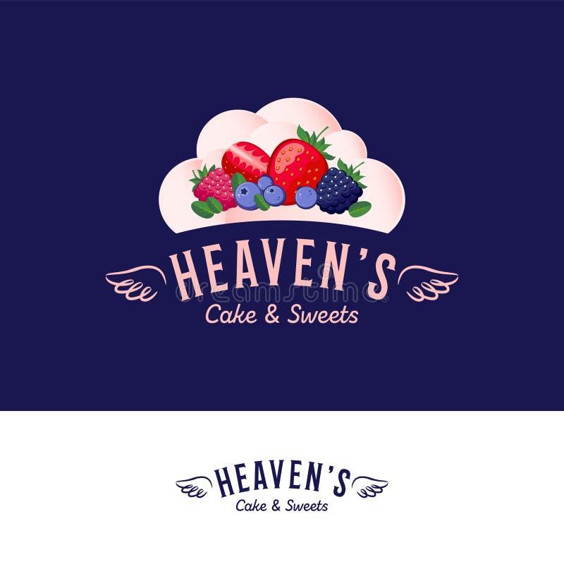 Logo de maison de crème glacée du nuage du ciel Baies et scoops de crème glacée comme le nuage Logotype avec les ailes angéliques illustration de vecteur