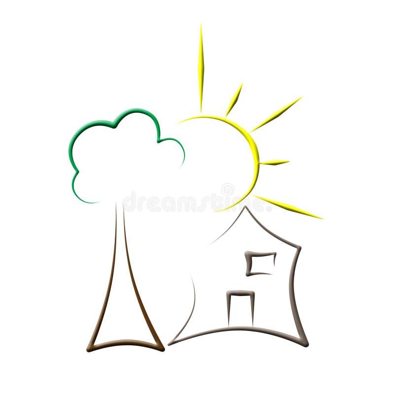 Logo de maison d'arbre de Sun images stock