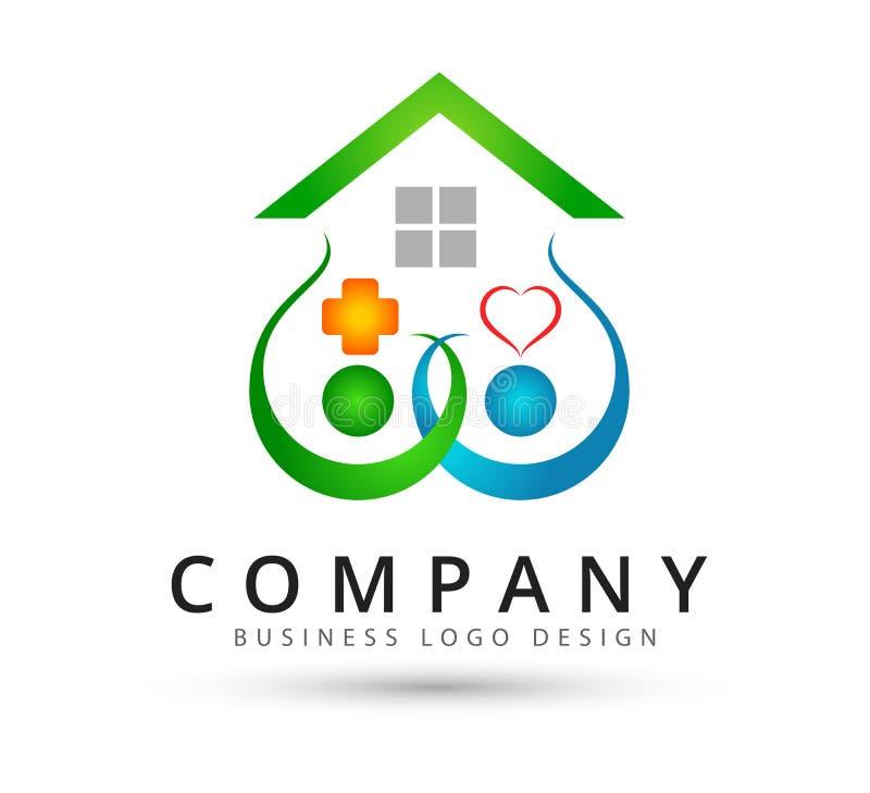 Logo de maison de famille, logo à la maison coloré de maison de couples heureux des syndicats d'amour illustration stock