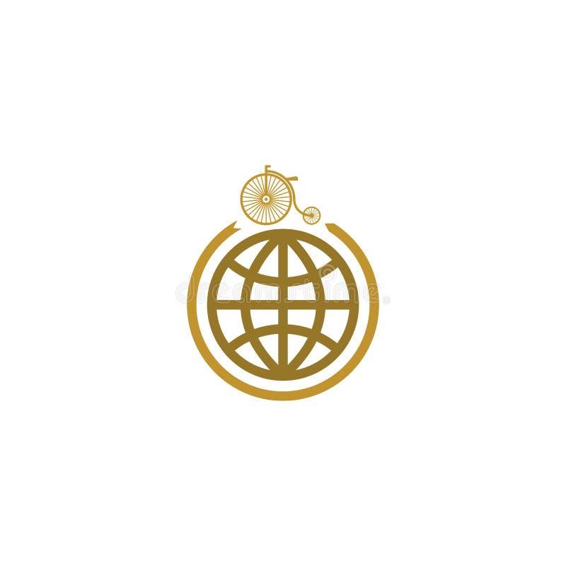 Logo de maquette de bicyclette et de globe, voyage sur l'icône de vélo illustration de vecteur