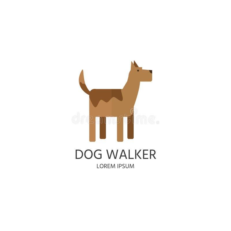 Logo de marcheur de chien, label, insigne Chien simple mignon dans le DES plat de style illustration libre de droits