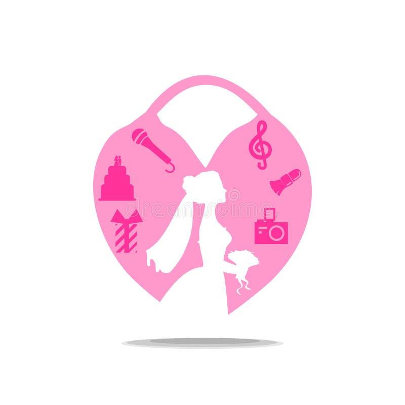 Logo de mariage avec la jeune mariée et le château La fille dans la robe prévoit une célébration Attributs de la partie : gâteau, illustration stock