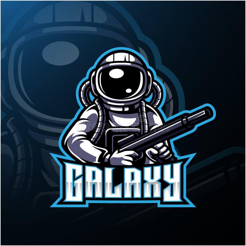 Logo de mascotte d'esport d'astronaute de galaxie illustration stock