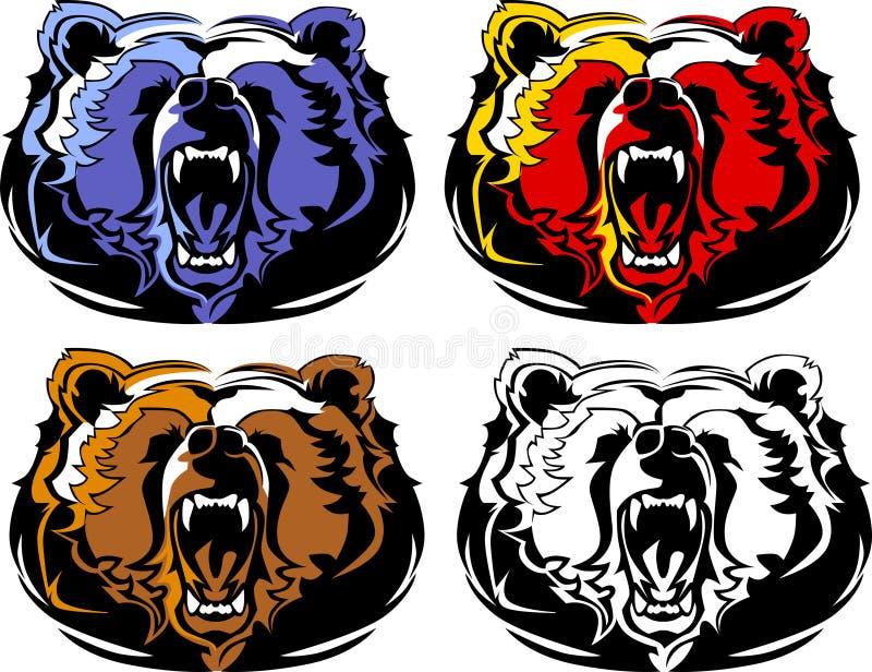 Logo de mascotte d'ours illustration de vecteur