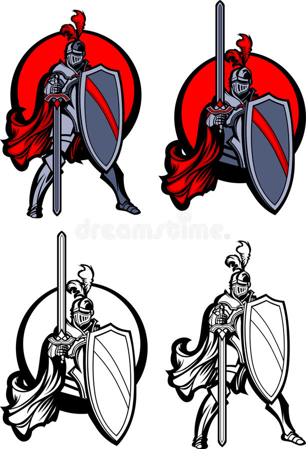 Logo de mascotte de paladin de chevalier illustration stock
