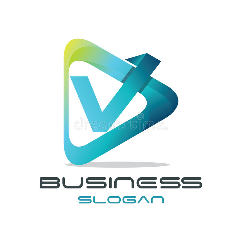 Logo de media de la lettre V illustration libre de droits