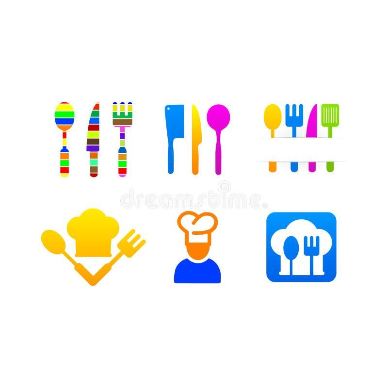 Logo de menu d'icônes coloré par ensemble de cuisine illustration de vecteur