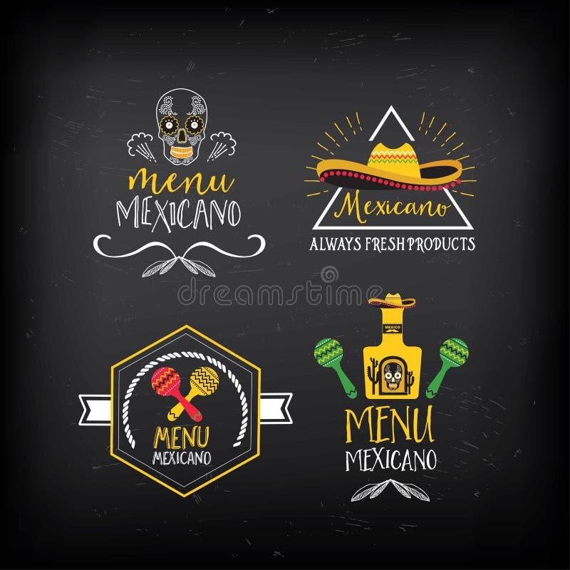 Logo de menu et conception mexicains d'insigne illustration stock