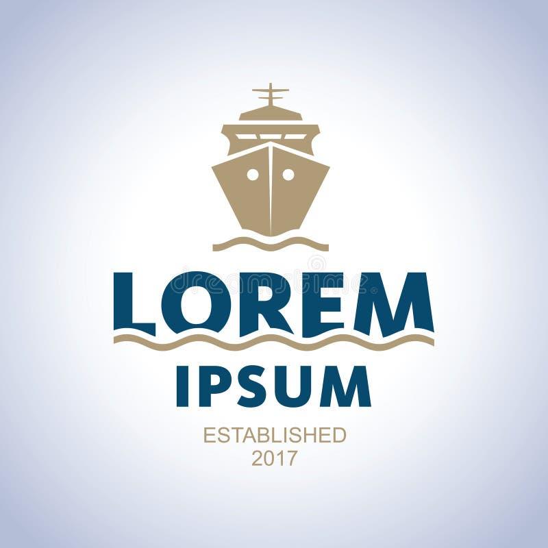 Logo de mer Emblème d'abrégé sur bateau illustration stock