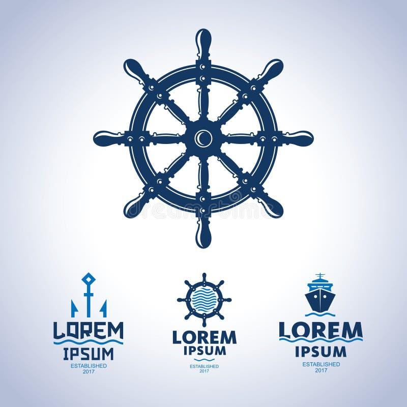 Logo de mer Emblème d'abrégé sur bateau illustration de vecteur