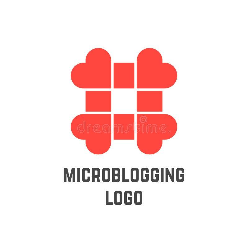 Logo de Microblogging avec le hashtag des coeurs illustration libre de droits