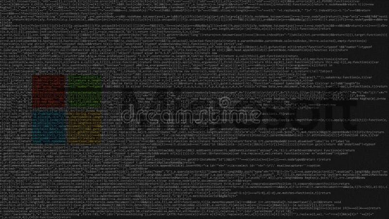 Logo de Microsoft fait en code source sur l'écran d'ordinateur Rendu 3D éditorial illustration libre de droits