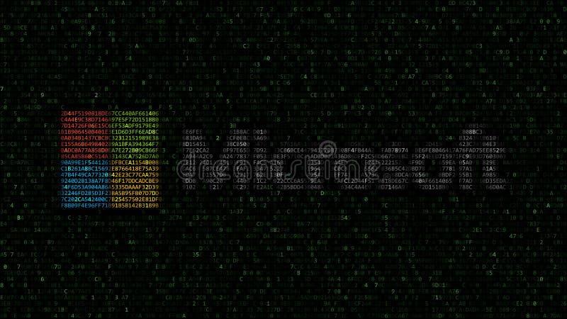 Logo de Microsoft fait de symboles hexadécimaux sur l'écran d'ordinateur Rendu 3D éditorial illustration libre de droits