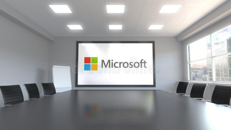 Logo de Microsoft sur l'écran dans un lieu de réunion Rendu 3D éditorial illustration de vecteur