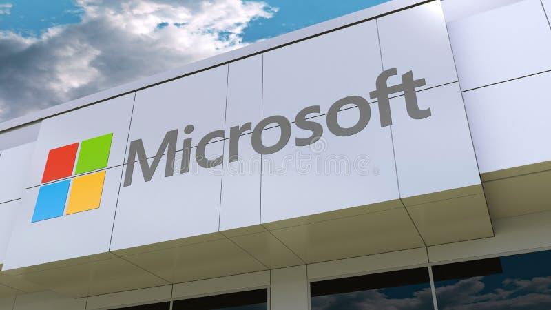 Logo de Microsoft sur la façade moderne de bâtiment Rendu 3D éditorial illustration libre de droits