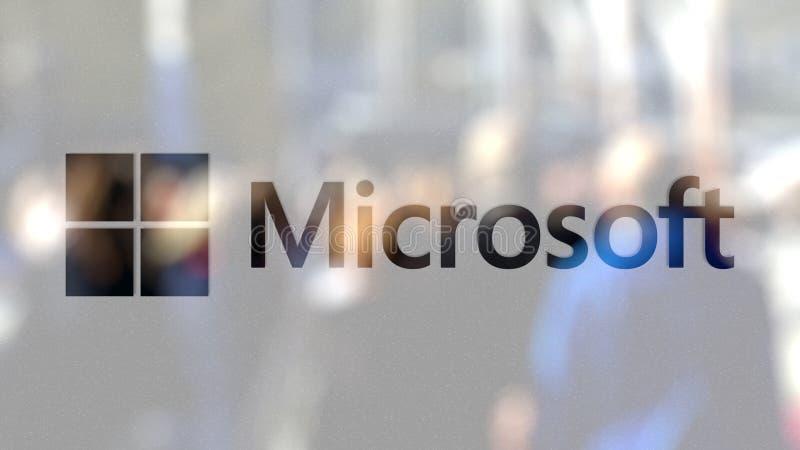 Logo de Microsoft sur un verre contre la foule brouillée sur le steet Rendu 3D éditorial illustration stock