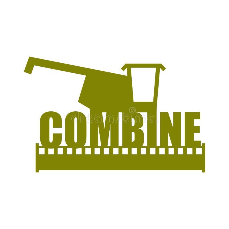 Logo de moissonneuse de cartel Ferme de signe Machine pour moissonner le grain illustration stock