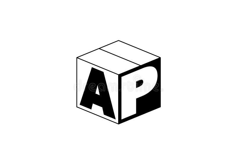 Logo de monogramme d'AP entouré dans un cube illustration stock