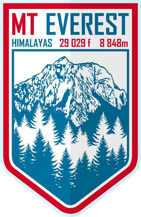 Logo de montagne d'Everest de vecteur Emblème avec le peack le plus élevé en monde Illustration de label d'alpinisme illustration de vecteur