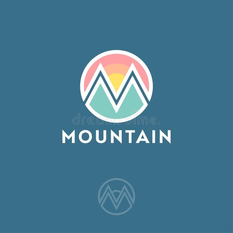 Logo de montagne, monogramme Lettre M comme montagne Magasin d'habillement, équipement pour s'élever illustration libre de droits