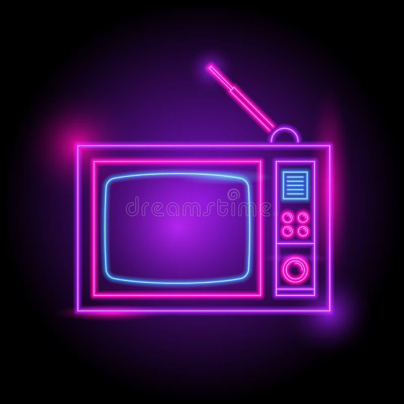 Logo de néon de télévision Lueur dans l'obscurité saison électrique de thème boîte de nuit de partie illustration stock