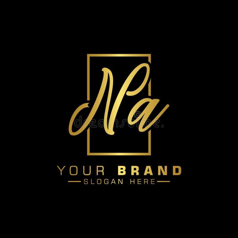 Logo de Na de lettre Couleur de luxe de vecteur de conception de lettre initiale illustration libre de droits