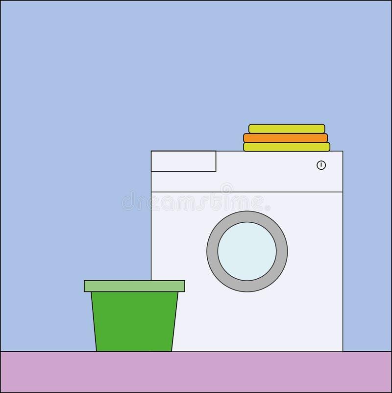 Logo de nettoyage à sec avec la machine à laver illustration libre de droits