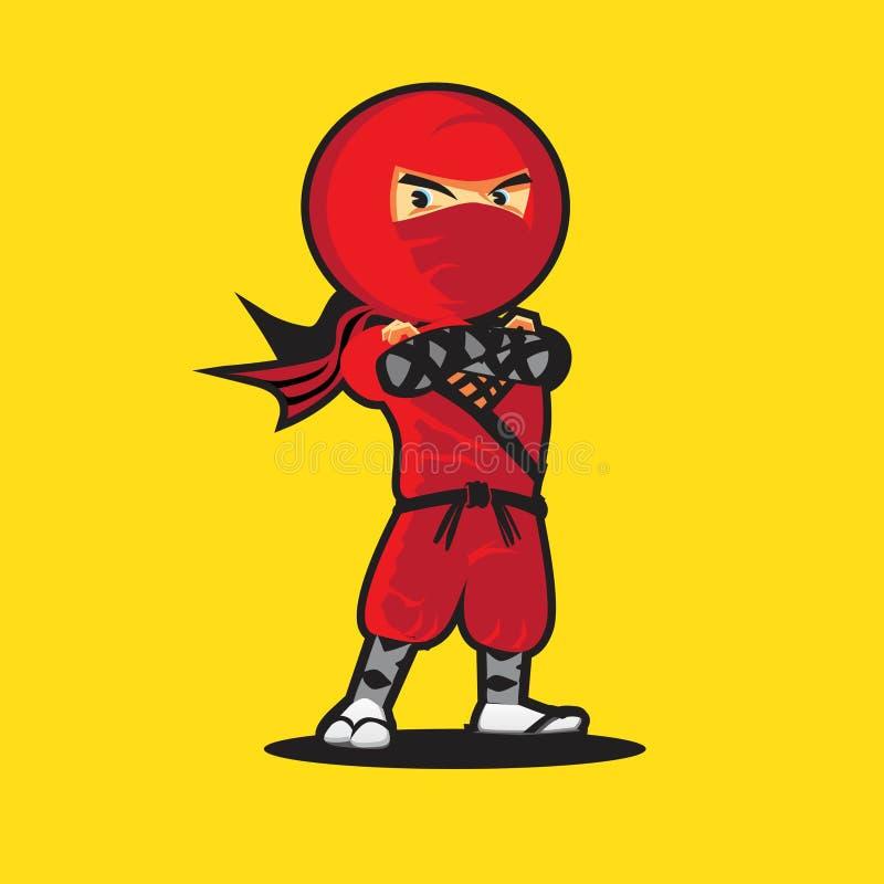 Logo de Ninja un logo rouge de vecteur de ninja de bande dessinée mignonne illustration de vecteur