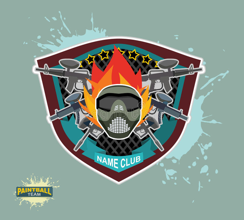Logo de Paintball armes à feu de paintball Masque de Paintball illustration de vecteur