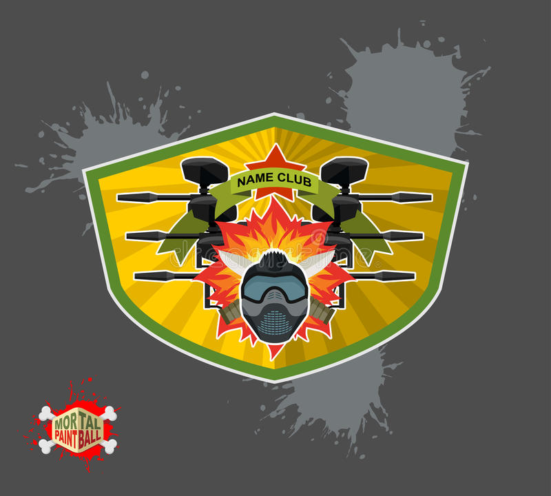 Logo de Paintball Bouclier avec des ailes illustration de vecteur