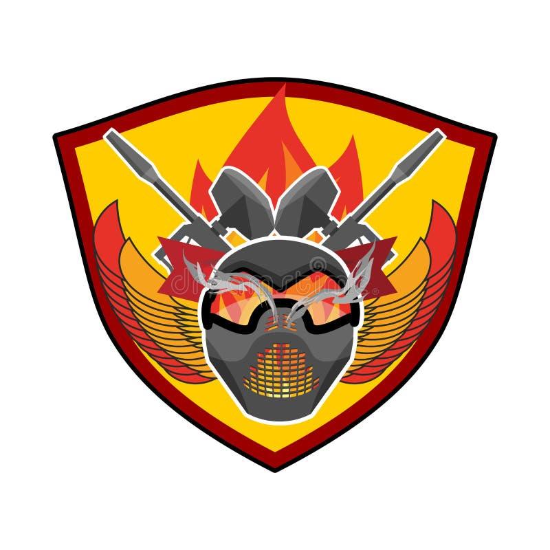 Logo de Paintball Emblème militaire Signe d'armée Casque et armes illustration stock