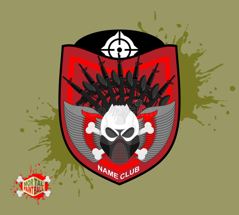 Logo de Paintball masque de protection de skul Bouclier héraldique avec des ailes illustration de vecteur