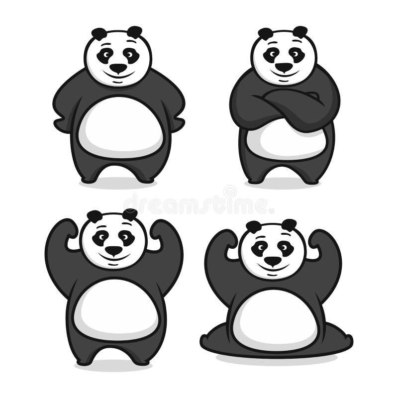 Logo de panda de mascotte de Moder Illustration de vecteur illustration stock