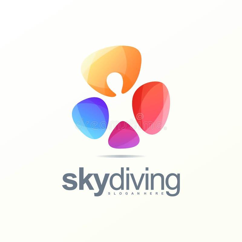 Logo de parachutisme prêt à employer illustration de vecteur