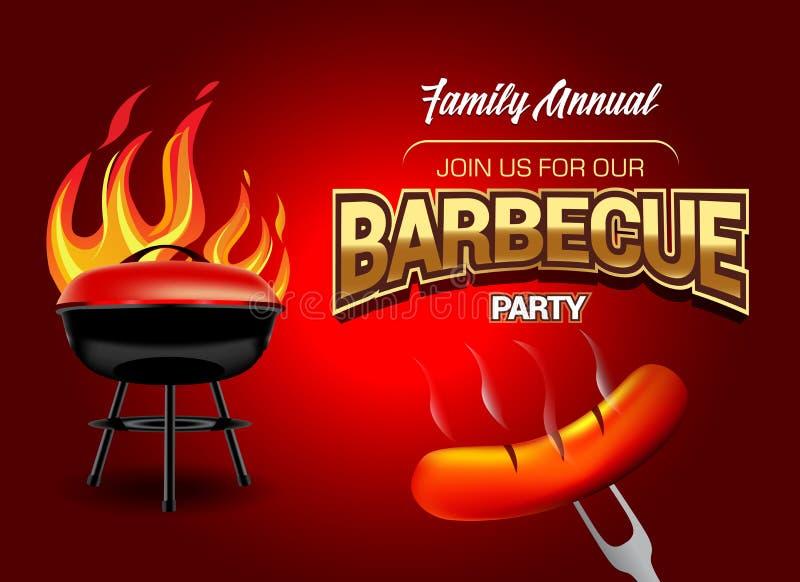 Logo de partie de barbecue, calibre d'invitation de partie Illustration de vecteur illustration libre de droits