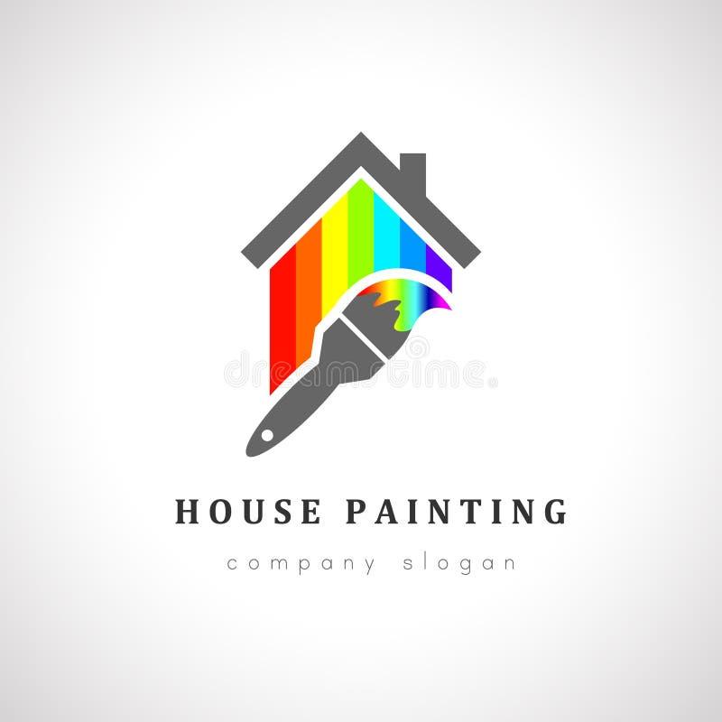 logo de peinture de maison illustration de vecteur