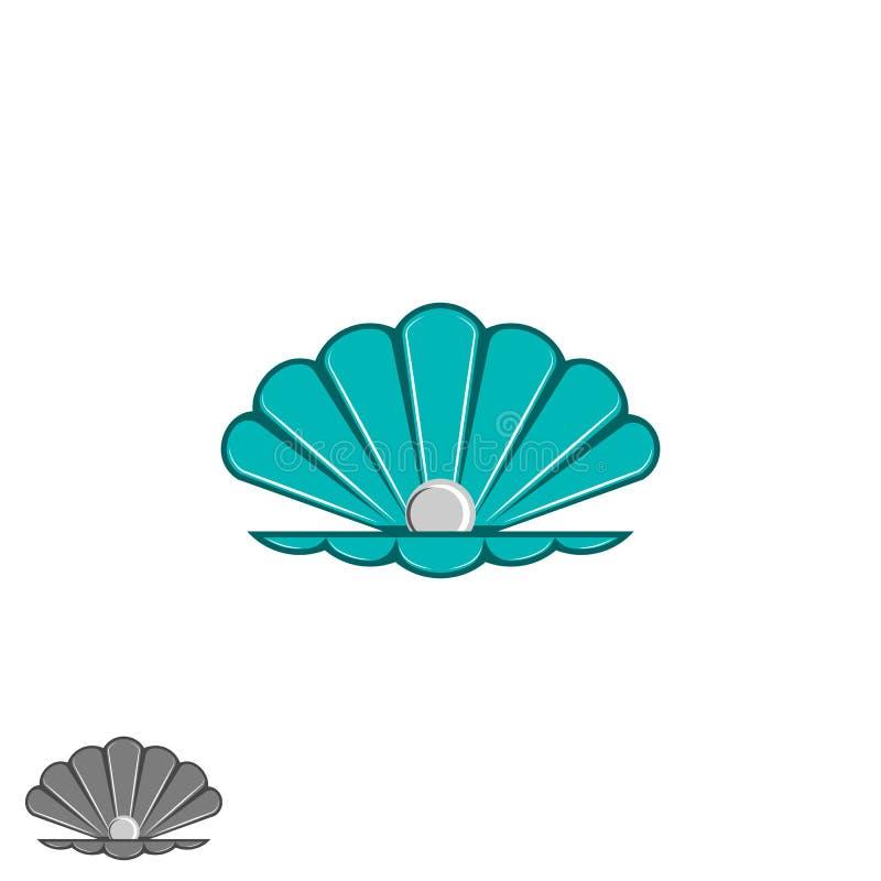 Logo de perle de Shell, coquillage ouvert avec un intérieur de perle, élément de conception de bande dessinée, maquette d'emblème illustration libre de droits