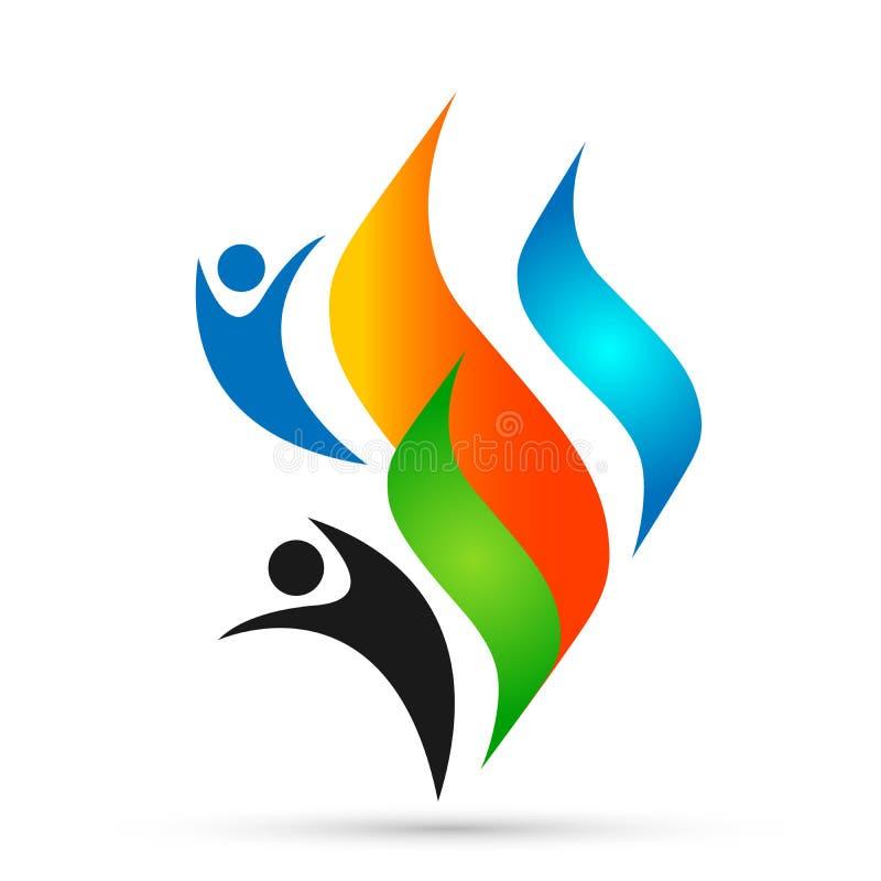 Logo de personnes du feu de flamme, vecteur moderne de conception d'icône de symbole de logotype de flammes sur le fond blanc illustration stock
