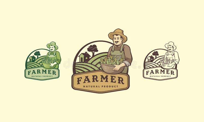Logo de petit groupe d'agriculteur avec le style de vintage photographie stock