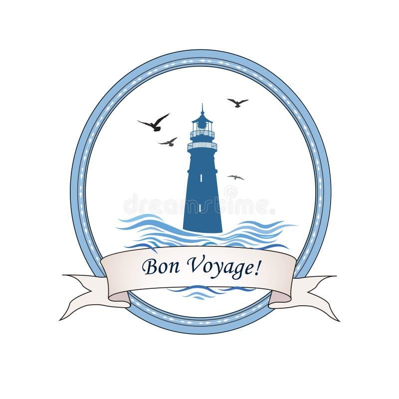 Logo de phare Icône nautique avec le phare, ressacs, oiseaux de mouette Design de carte de voyage de voyage illustration stock