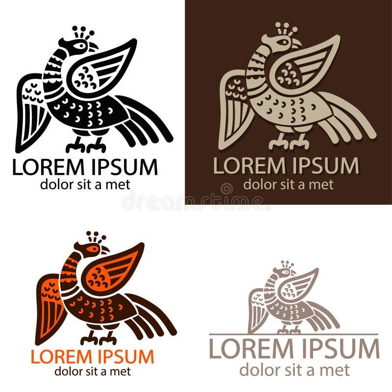Logo de Phoenix d'oiseau du feu Symbole antique Ensemble de vecteur Tatouage de Phoenix Or de Phoenix Signe d'oiseau du feu illustration libre de droits