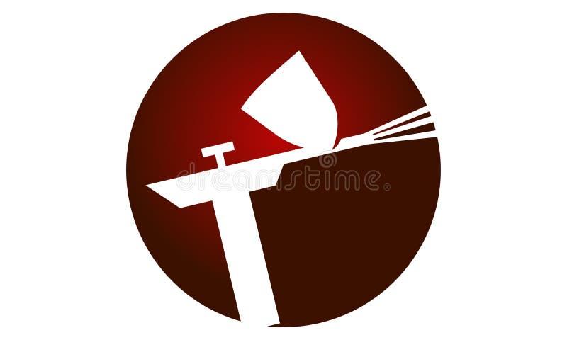 Logo de pistolet de pulvérisation illustration de vecteur
