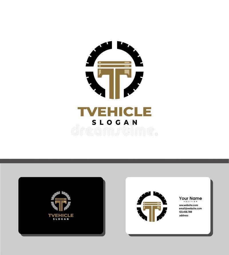 Logo de piston d'or de T illustration stock